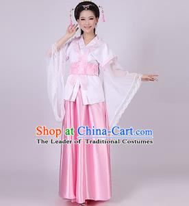 Asian China Ancient Han Dynasty Palace Lady Costume, Traditional Chinese Princess Hanfu Embroidered Pink Dress Clothing for Women