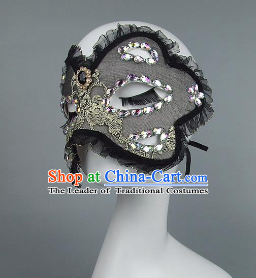 Top Grade Handmade Exaggerate Fancy Ball Model Show Black Crystal Mask, Halloween Ceremonial Occasions Face Mask