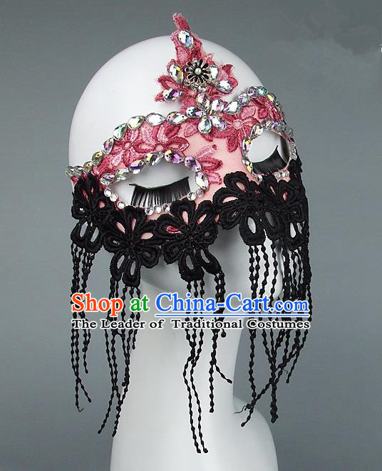 Top Grade Handmade Exaggerate Fancy Ball Model Show Lace Tassel Crystal Mask, Halloween Ceremonial Occasions Face Mask