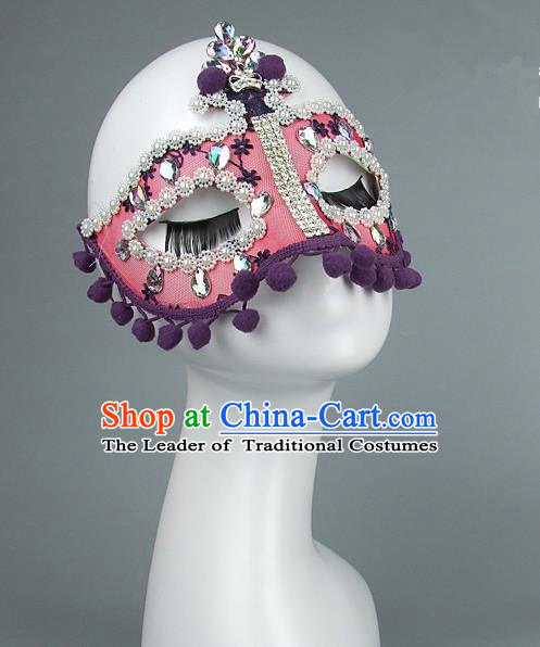 Top Grade Handmade Exaggerate Fancy Ball Model Show Pink Mask, Halloween Ceremonial Occasions Face Mask