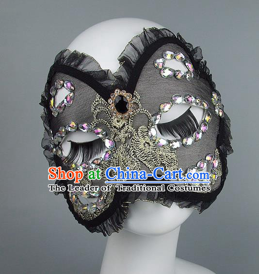 Top Grade Handmade Exaggerate Fancy Ball Model Show Black Veil Mask, Halloween Ceremonial Occasions Face Mask
