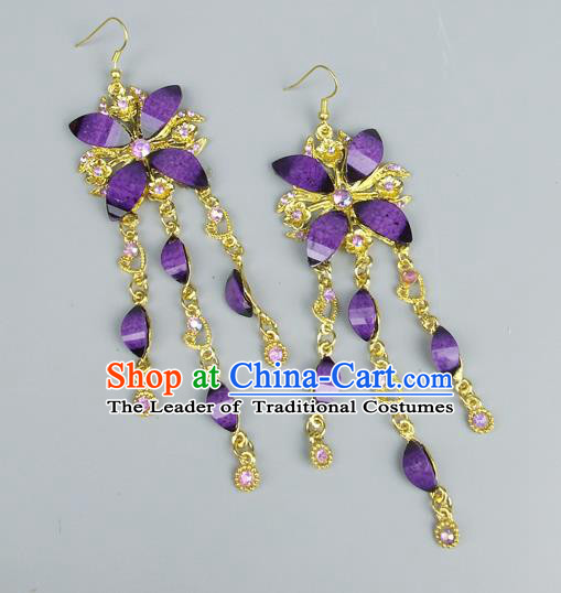Top Grade Wedding Accessories Vintage Tassel Earrings, Baroque Style Handmade Bride Purple Crystal Butterfly Eardrop for Women