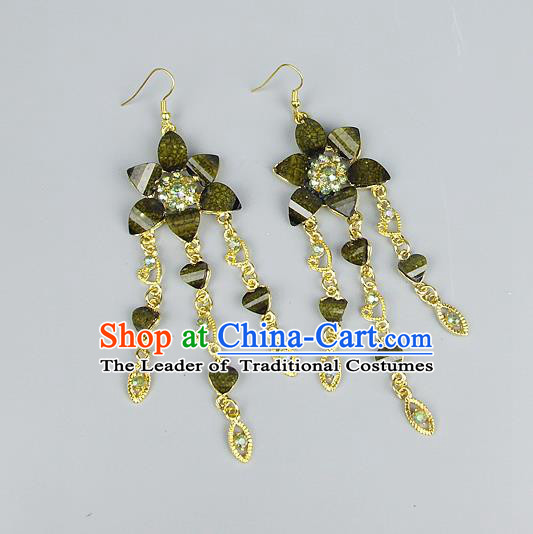 Top Grade Wedding Accessories Vintage Tassel Earrings, Baroque Style Handmade Bride Green Crystal Flower Eardrop for Women