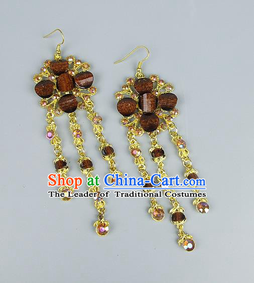 Top Grade Wedding Accessories Vintage Tassel Earrings, Baroque Style Handmade Bride Brown Crystal Eardrop for Women