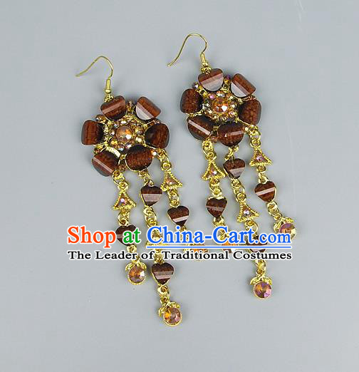 Top Grade Wedding Accessories Vintage Tassel Flower Earrings, Baroque Style Handmade Bride Brown Crystal Eardrop for Women