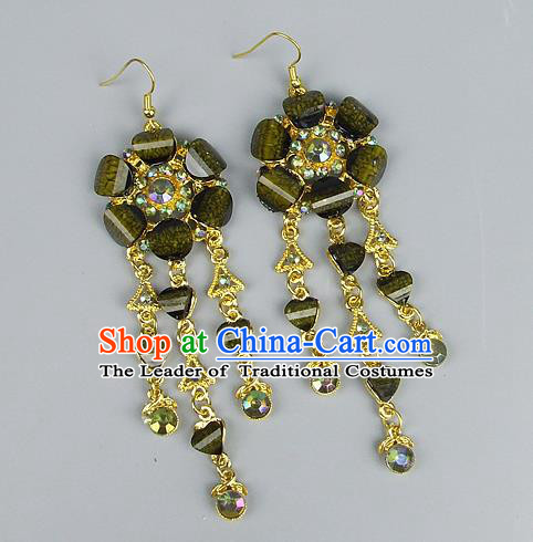 Top Grade Wedding Accessories Vintage Golden Tassel Earrings, Baroque Style Handmade Bride Green Crystal Eardrop for Women