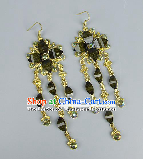 Top Grade Wedding Accessories Vintage Golden Tassel Green Crystal Earrings, Baroque Style Handmade Bride Eardrop for Women