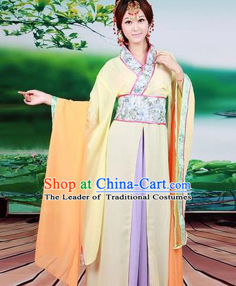 Asian China Ancient Han Dynasty Palace Lady Costume, Traditional Chinese Princess Hanfu Embroidered Yellow Dress Clothing for Women