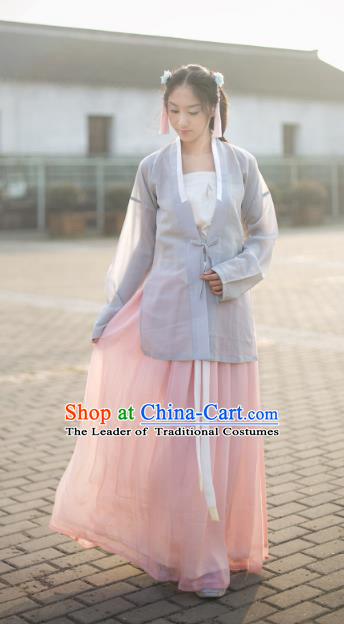 Traditional Chinese Song Dynasty Young Lady Costume Complete Set, Asian China Ancient Hanfu Dress Clothing for Women