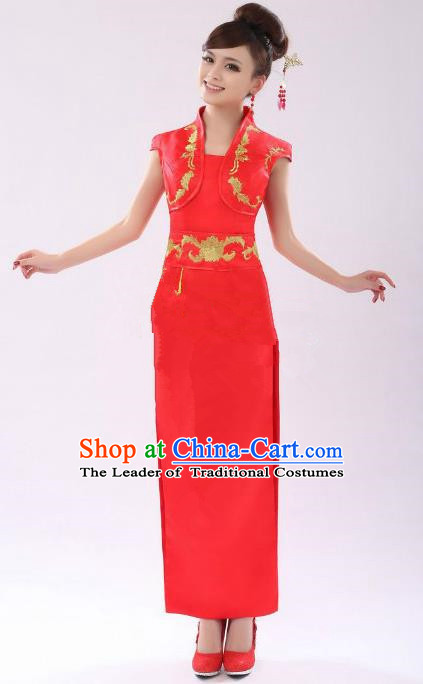 Traditional Chinese National Costume Red Wedding Qipao, China Ancient Cheongsam Long Chirpaur Dress for Women