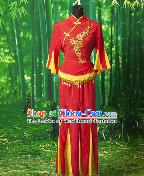 Traditional Chinese Classical Dance Yangge Fan Dancing Costume, Drum Dance Uniform Yangko Red Costume for Women