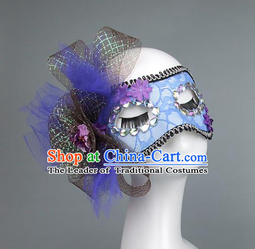 Top Grade Handmade Exaggerate Fancy Ball Accessories Model Show Blue Lace Bowknot Mask, Halloween Ceremonial Occasions Face Mask