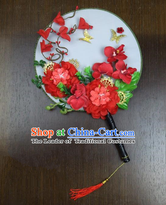 Traditional Handmade Chinese Ancient Wedding Red Round Fans, Hanfu Palace Lady Bride Mandarin Fans for Women