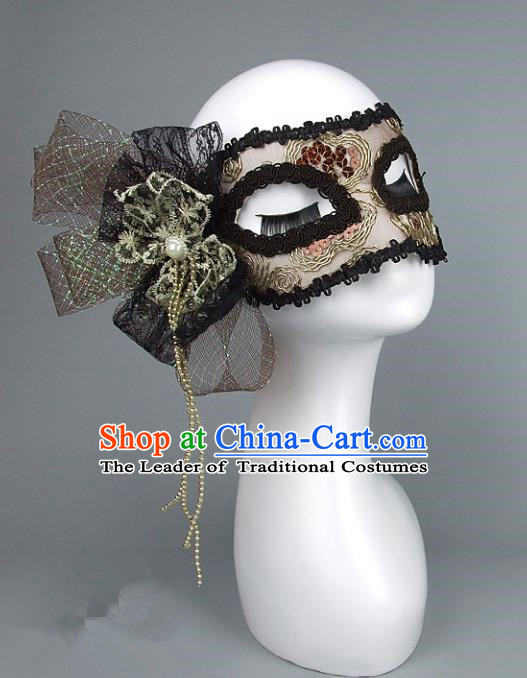 Top Grade Handmade Exaggerate Fancy Ball Accessories Black Lace Mask, Halloween Model Show Ceremonial Occasions Face Mask