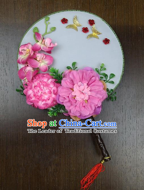 Traditional Handmade Chinese Ancient Wedding Pink Peony Round Fans, Hanfu Palace Lady Bride Mandarin Fans for Women