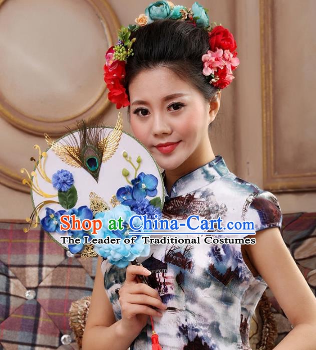Traditional Handmade Chinese Ancient Wedding Blue Peony Feather Round Fans, Hanfu Palace Lady Bride Mandarin Fans for Women