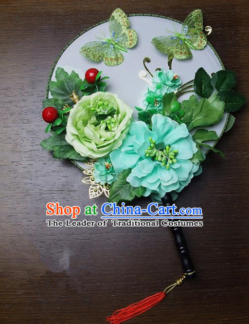 Traditional Handmade Chinese Ancient Wedding Green Peony Feather Round Fans, Hanfu Palace Lady Bride Mandarin Fans for Women