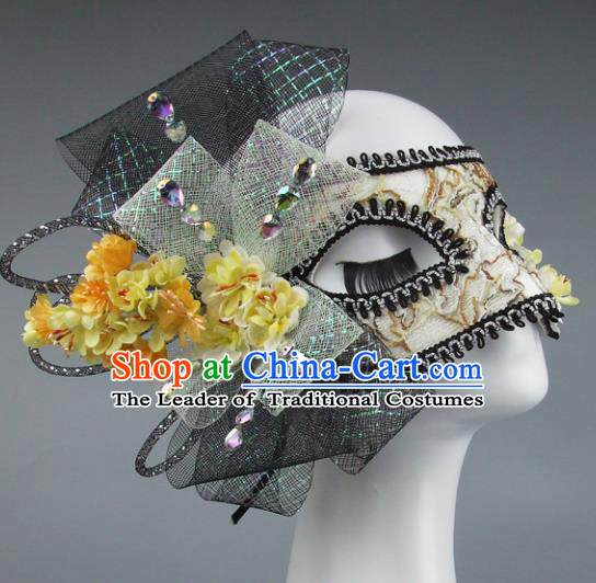 Top Grade Handmade Exaggerate Fancy Ball Accessories Model Show Veil Yellow Flowers Mask, Halloween Ceremonial Occasions Face Mask
