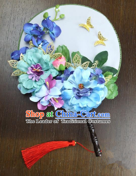 Traditional Handmade Chinese Ancient Wedding Blue Peony Round Fans, Hanfu Palace Lady Bride Butterfly Mandarin Fans for Women
