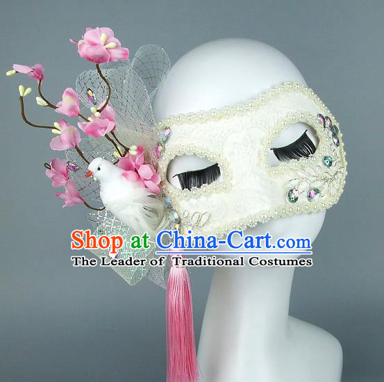 Top Grade Handmade Exaggerate Fancy Ball Accessories Pink Flowers Pigeon Mask, Halloween Model Show Ceremonial Occasions Face Mask