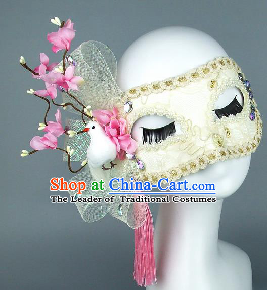 Top Grade Handmade Exaggerate Fancy Ball Accessories Pink Flowers Pigeon Tassel Mask, Halloween Model Show Ceremonial Occasions Face Mask
