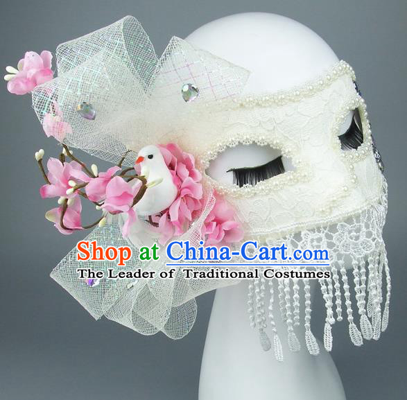 Top Grade Handmade Exaggerate Fancy Ball Accessories Flowers Pigeon Tassel Mask, Halloween Model Show Ceremonial Occasions Face Mask