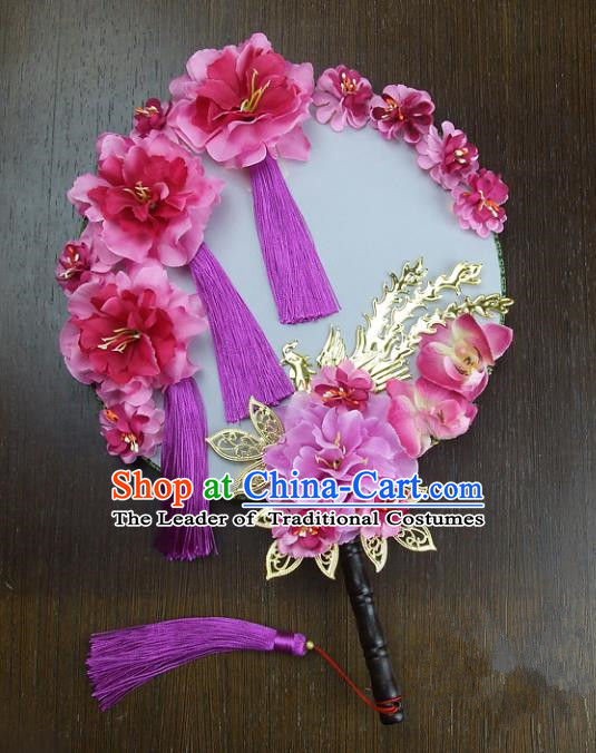 Traditional Handmade Chinese Ancient Wedding Pink Peony Tassel Round Fans, Hanfu Palace Lady Bride Mandarin Fans for Women
