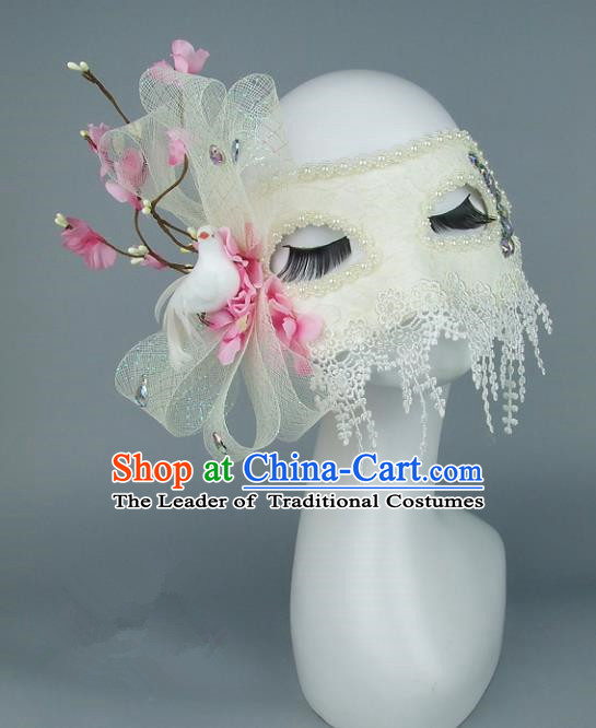 Top Grade Handmade Exaggerate Fancy Ball Accessories Pink Flowers Lace Mask, Halloween Model Show Ceremonial Occasions Face Mask