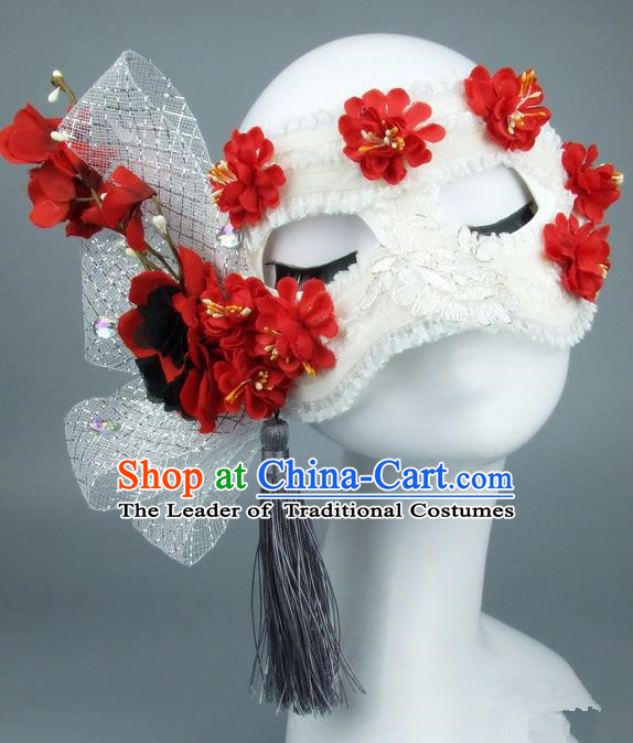 Top Grade Handmade Exaggerate Fancy Ball Accessories Red Flowers Lace Mask, Halloween Model Show Ceremonial Occasions Face Mask
