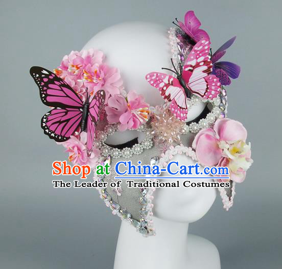 Top Grade Handmade Exaggerate Fancy Ball Accessories Butterfly Mask, Halloween Model Show Ceremonial Occasions Face Mask