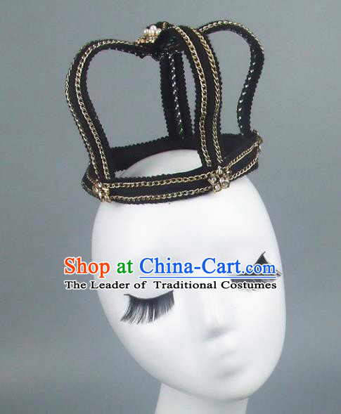 Handmade Halloween Royal Crown Hair Accessories Model Show Headdress, Halloween Ceremonial Occasions Miami Deluxe Exaggerate Fancy Ball Headwear