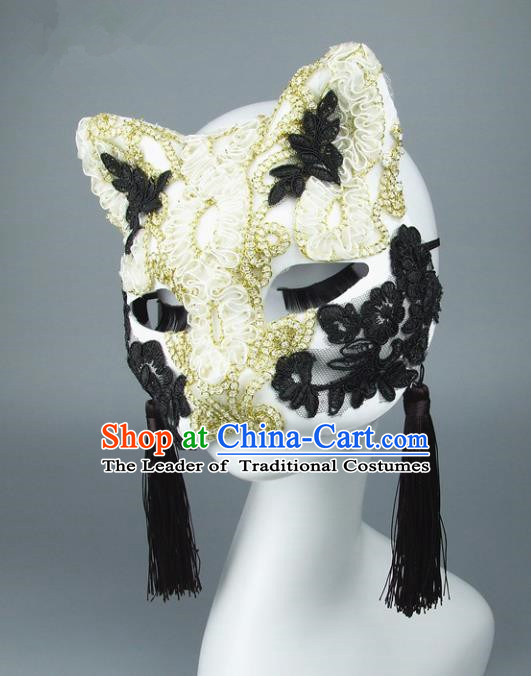 Handmade Halloween Fancy Ball Accessories Cat White Lace Mask, Ceremonial Occasions Miami Face Mask