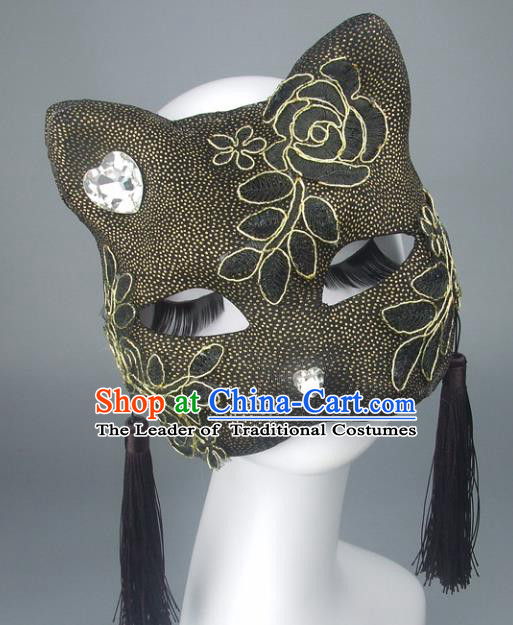 Handmade Halloween Fancy Ball Accessories Cat Black Tassel Mask, Ceremonial Occasions Miami Face Mask
