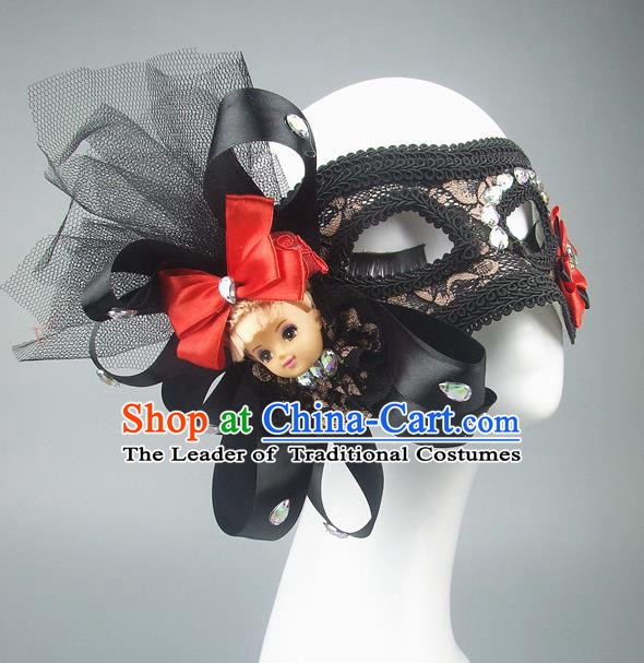 Handmade Halloween Fancy Ball Accessories Black Veil Mask, Ceremonial Occasions Miami Model Show Lace Face Mask