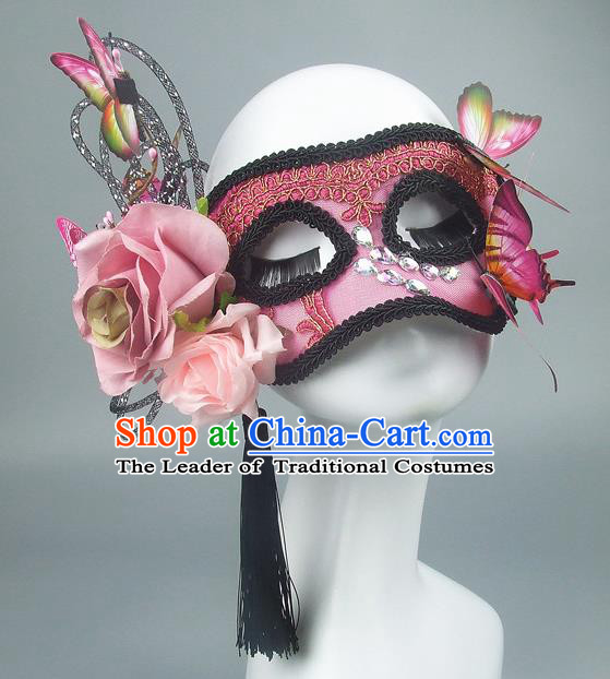 Handmade Halloween Fancy Ball Accessories Pink Flowers Butterfly Mask, Ceremonial Occasions Miami Model Show Face Mask