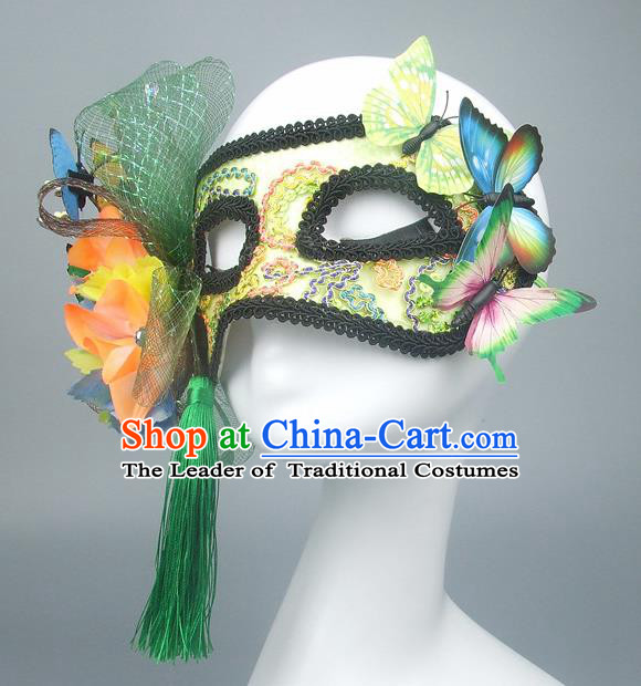 Handmade Halloween Fancy Ball Accessories Green Flowers Butterfly Mask, Ceremonial Occasions Miami Model Show Face Mask