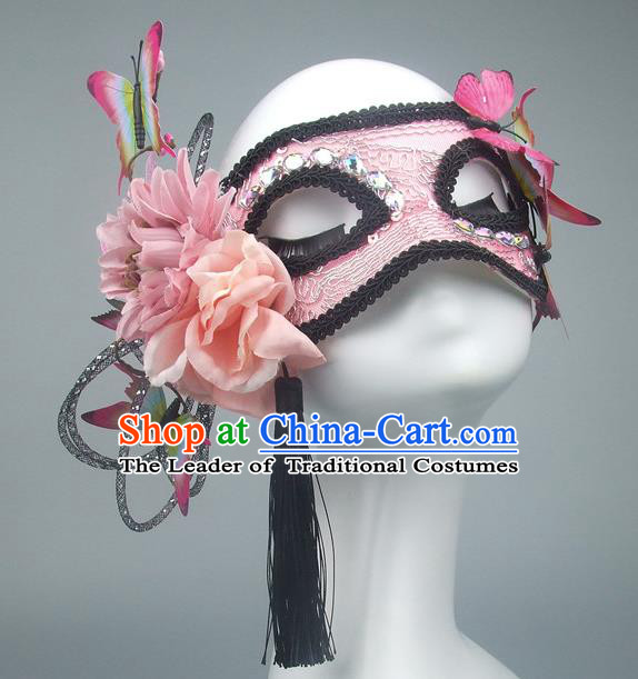 Handmade Halloween Fancy Ball Accessories Pink Lace Mask, Ceremonial Occasions Miami Model Show Butterfly Face Mask