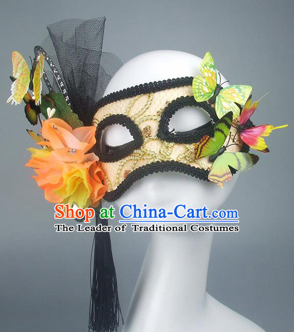 Handmade Halloween Fancy Ball Accessories Yellow Lace Mask, Ceremonial Occasions Miami Model Show Butterfly Face Mask