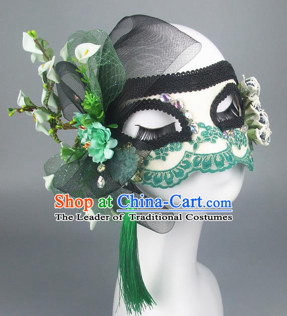 Handmade Halloween Fancy Ball Accessories Green Flowers Mask, Ceremonial Occasions Miami Model Show Lace Face Mask