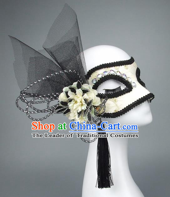 Handmade Halloween Fancy Ball Accessories Black Veil Flower Mask, Ceremonial Occasions Miami Model Show Face Mask