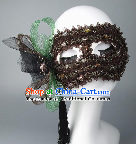 Handmade Halloween Fancy Ball Accessories Brown Flower Mask, Ceremonial Occasions Miami Model Show Face Mask