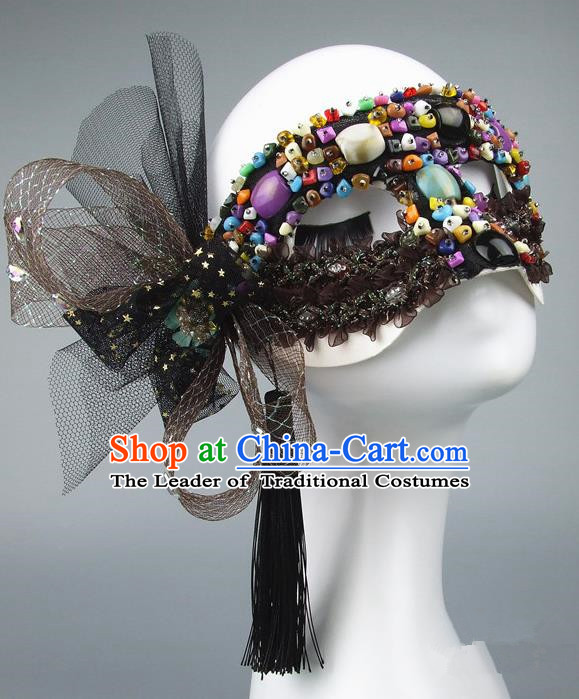 Handmade Halloween Fancy Ball Accessories Colorful Beads Mask, Ceremonial Occasions Miami Model Show Face Mask