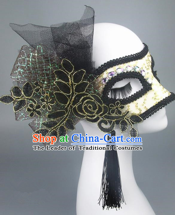 Handmade Halloween Fancy Ball Accessories Black Veil Lace Mask, Ceremonial Occasions Miami Model Show Face Mask