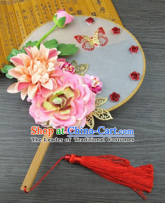 Traditional Handmade Chinese Ancient Wedding Pink Flowers Butterfly Round Fans, Hanfu Palace Lady Bride Xiuhe Suit Mandarin Fans for Women