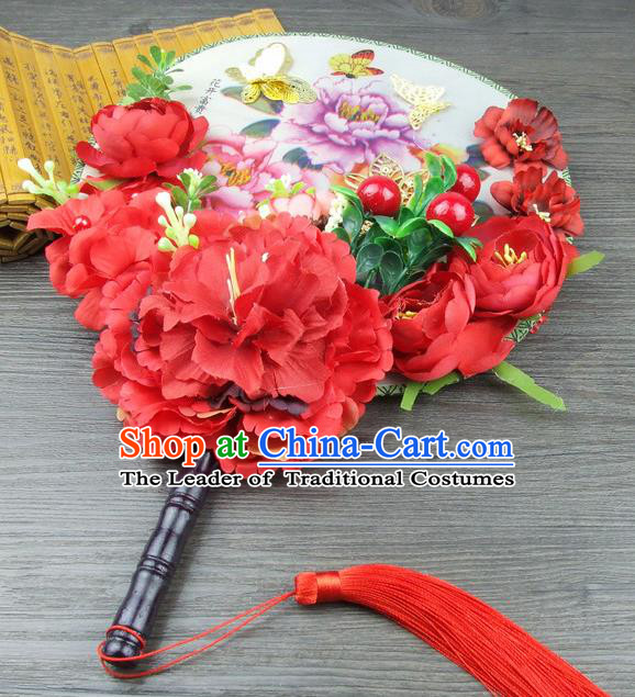 Traditional Handmade Chinese Ancient Wedding Red Flowers Butterfly Round Fans, Hanfu Palace Lady Bride Xiuhe Suit Mandarin Fans for Women