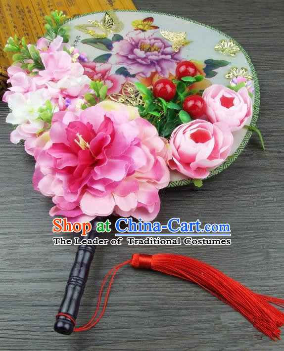 Traditional Handmade Chinese Ancient Wedding Rosy Flowers Butterfly Round Fans, Hanfu Palace Lady Bride Xiuhe Suit Mandarin Fans for Women