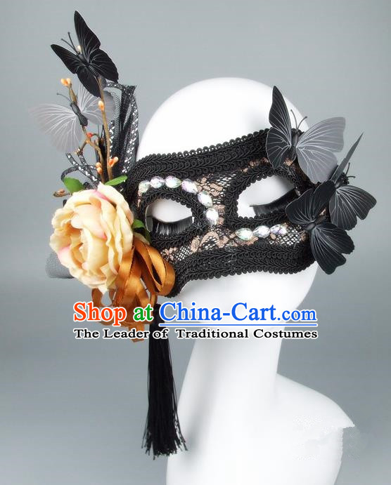 Handmade Halloween Fancy Ball Accessories Yellow Flower Lace Mask, Ceremonial Occasions Miami Model Show Face Mask