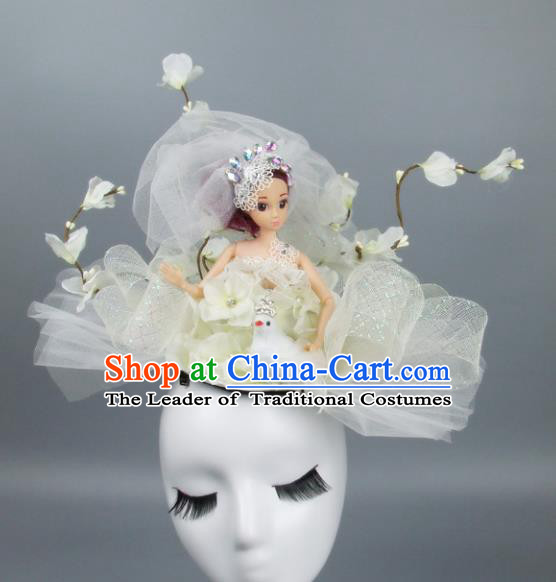 Handmade Halloween Fancy Ball Hair Accessories White Veil Headwear, Ceremonial Occasions Miami Model Show Headdress