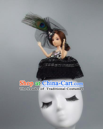 Handmade Halloween Fancy Ball Hair Accessories Black Veil Doll Headwear, Ceremonial Occasions Miami Model Show Headdress