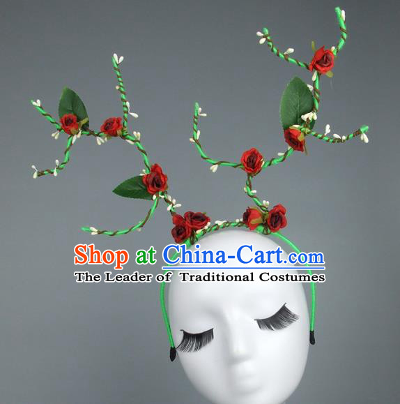 Handmade Halloween Fancy Ball Hair Accessories Red Flowers Headwear, Ceremonial Occasions Miami Model Show Headdress